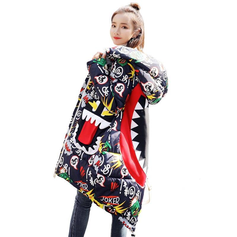 Rembourré Imprimé Plus Manteau vert Lâche Nouvelle Taille Hiver Mujer Capuche Neige Parkas Femme Épaissir Noir Veste Chaud Parka À jaune Mode 2018 HeDY2I9bWE