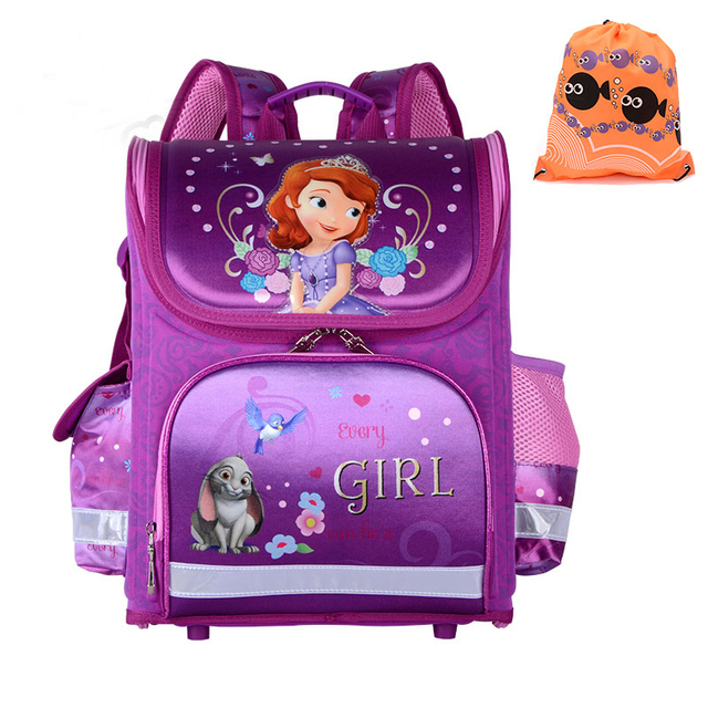 9252f27e3e37 2017 Girls School Bags Backpacks Children Orthopedic Waterproof Backpack  Girl s Sofia Book bag Kids Satchel Knapsack