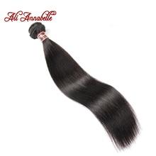 ALI ANNABELLE HAIR Brazilian Straight Human Hair 100% Remy Human Hair Weave Bundles Natural Black 10″-28″ Inch Free Shipping