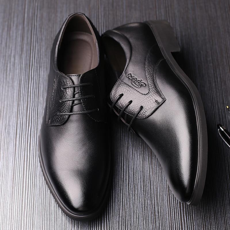 DXKZMCM 2019 Handmade Men Dress Shoes Gentlemen Split Leather Shoes Formal Shoes Business Style Men Shoes