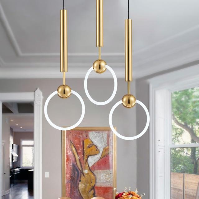 Modern Simple Lee Broom Ring Led Pendant Lights Gold Metal Light Suspension Lamp Hanging