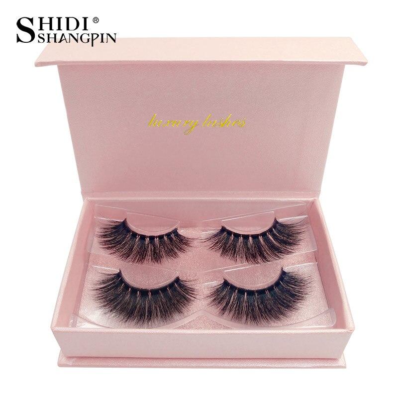 SHIDISHANGPIN 2 pairs mink eyelashes natural long makeup 3d false eyelashes hand