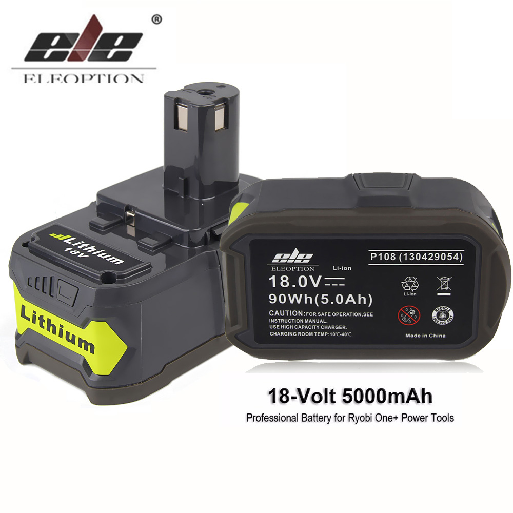 Batterie Lithium ELEOPTION 5000 mAh Li-Ion 18 V pour batterie Rechargeable Ryobi 18 V P108 RB18L40 P2000 P310 pour ONE + BIW180