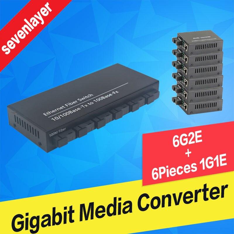 10/100 M Fast Ethernet Switch Konverter 2 Rj45 Und 6 Sc Fiber Ports Und 2 Rj45 1 Sc Faser Port Media Converter