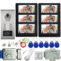 Door Intercom for Apartments Access Control Video Intercom 6 Monitors Home Intercom System Home Videophone Electronic Door Lock