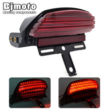 лучшая цена BJMOTO Motorcycle Tri-Bar Fender LED Tail Brake Running Light For Harley Davidson Dyna FXDF Fat Bob 2008-Later Taillight