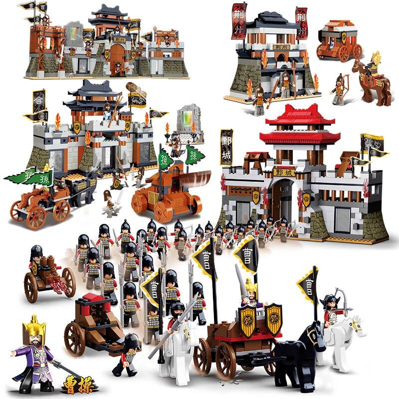 Sluban Three Kingdoms Army Military War Castle General Soldier Vehicle Car DIY Building Blocks Bricks Toy For Children No Box