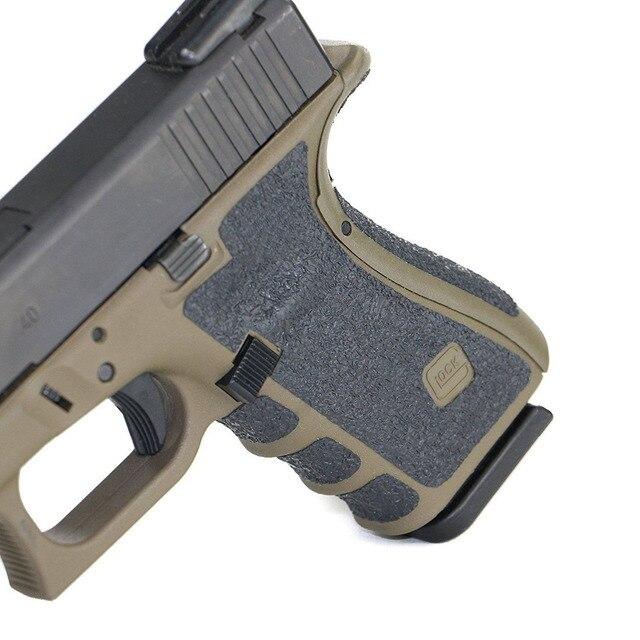 US $5 32 27% OFF|Non slip Rubber Texture Grip Wrap Tape Glove for Glock 17  19 20 21 22 25 26 27 33 43 holster 9mm pistol gun magazine accessories-in