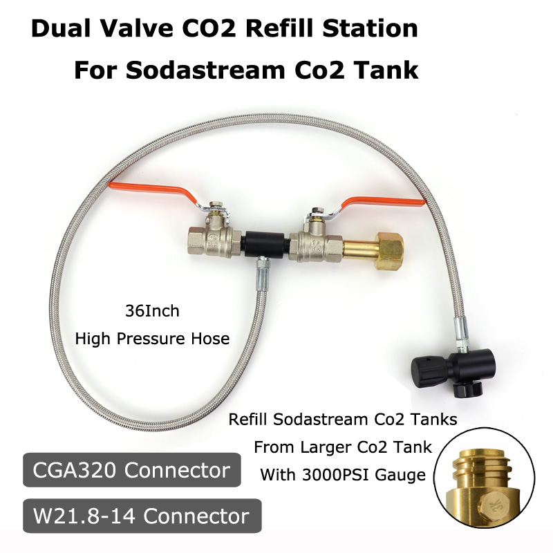NEW Sodastream Deluxe Dual Valve CO2 Fill Refill Station Charging Adaptor With 3000PSI Gauge 37Inch Hose CGA320 & W21.8-14