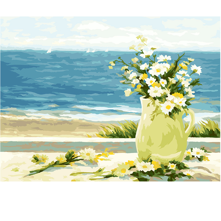 Seaside hand painted oil Painting diy paint by number linen living ...