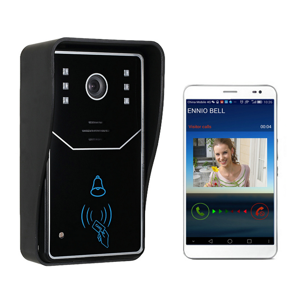 Touch Key WiFi DoorBell Wireless Video Door Phone Home Intercom System IR RFID Camera with Motion Detection Alarm and ID Card 4 3 hd rfid color video intercom system video door phone with ir coms outdoor camera doorbell 125khz id card for home office