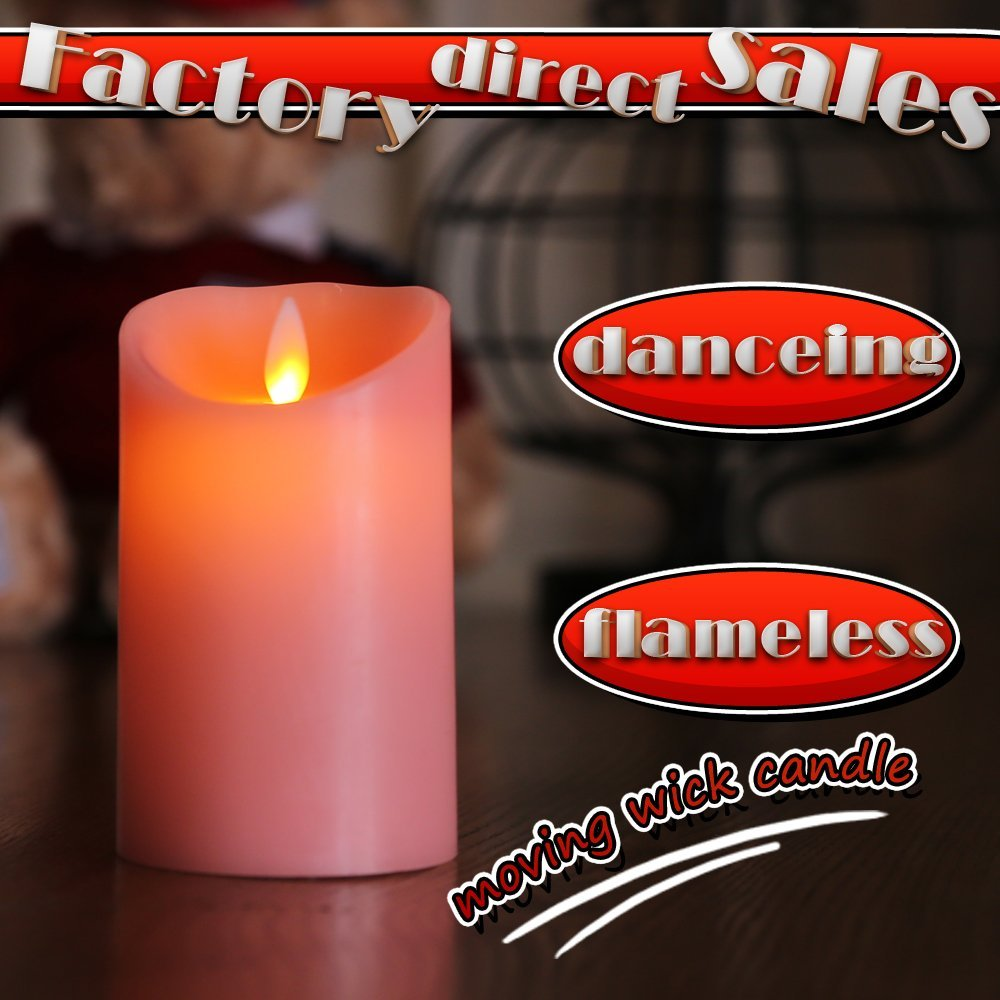 Flameless Pink Wax Candle Pillar, Moving Wick LED