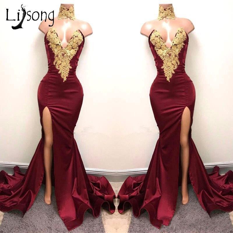 Aso Ebi Burgundy 2018 Long Mermaid Prom Dresses 2017 Nigeria Sexy High Side Split Prom Gowns