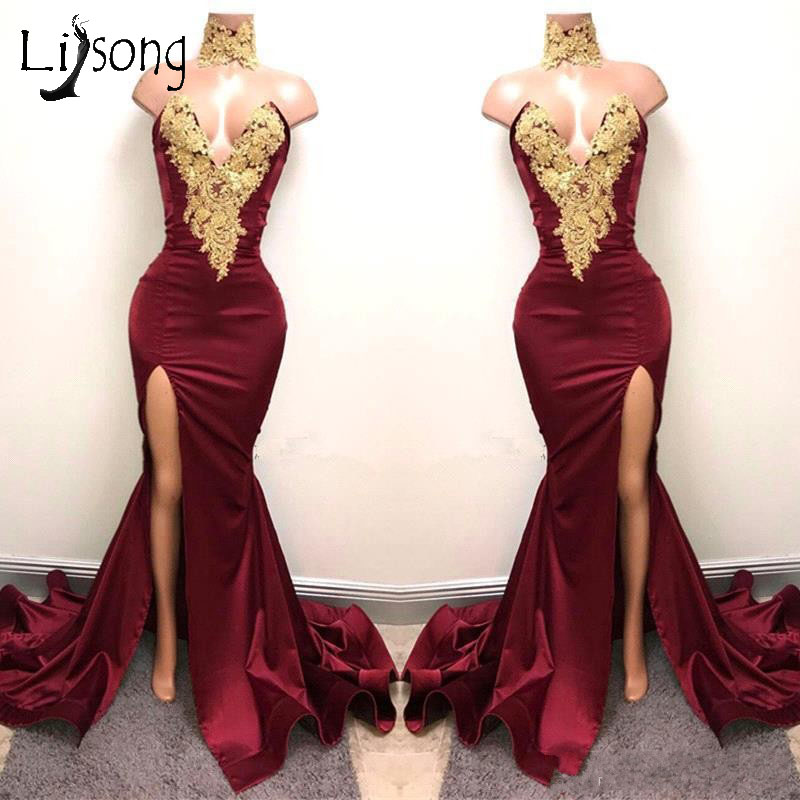 Aso Ebi Burgundy 2018 Long Mermaid   Prom     Dresses   2017 Nigeria Sexy High Side Split   Prom   Gowns Off Shoulder African Appliques