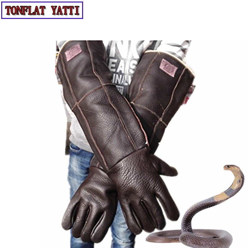 2018 Anti bite gloves 60cm safety long gloves plus thick catch animal like dog,cat,reptile,snake Pets training feeding gloves
