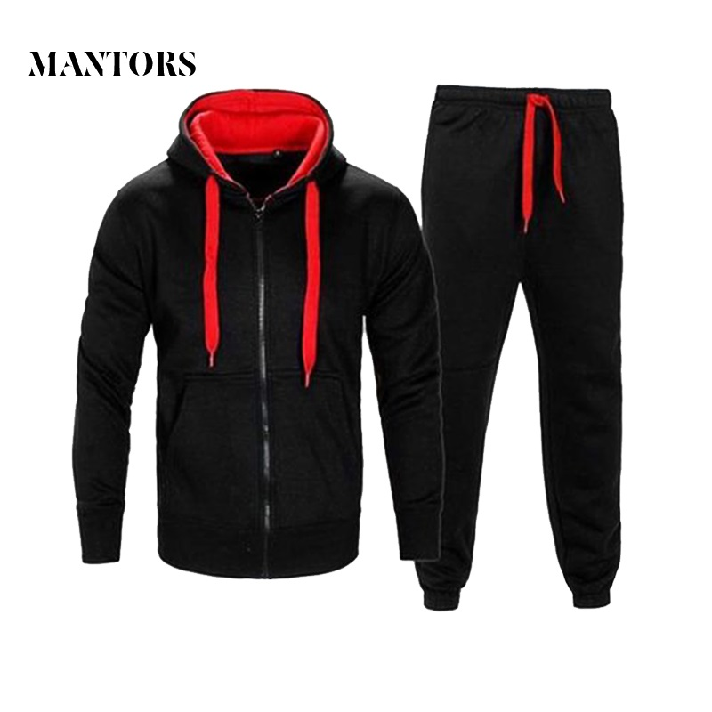 Autumn Winter Men Hoodies Set 2018 Brand Male Casual Solid Tracksuit Zipper Hooded Sweatshirt Jacket +Sweatpants Mens Tracksuit