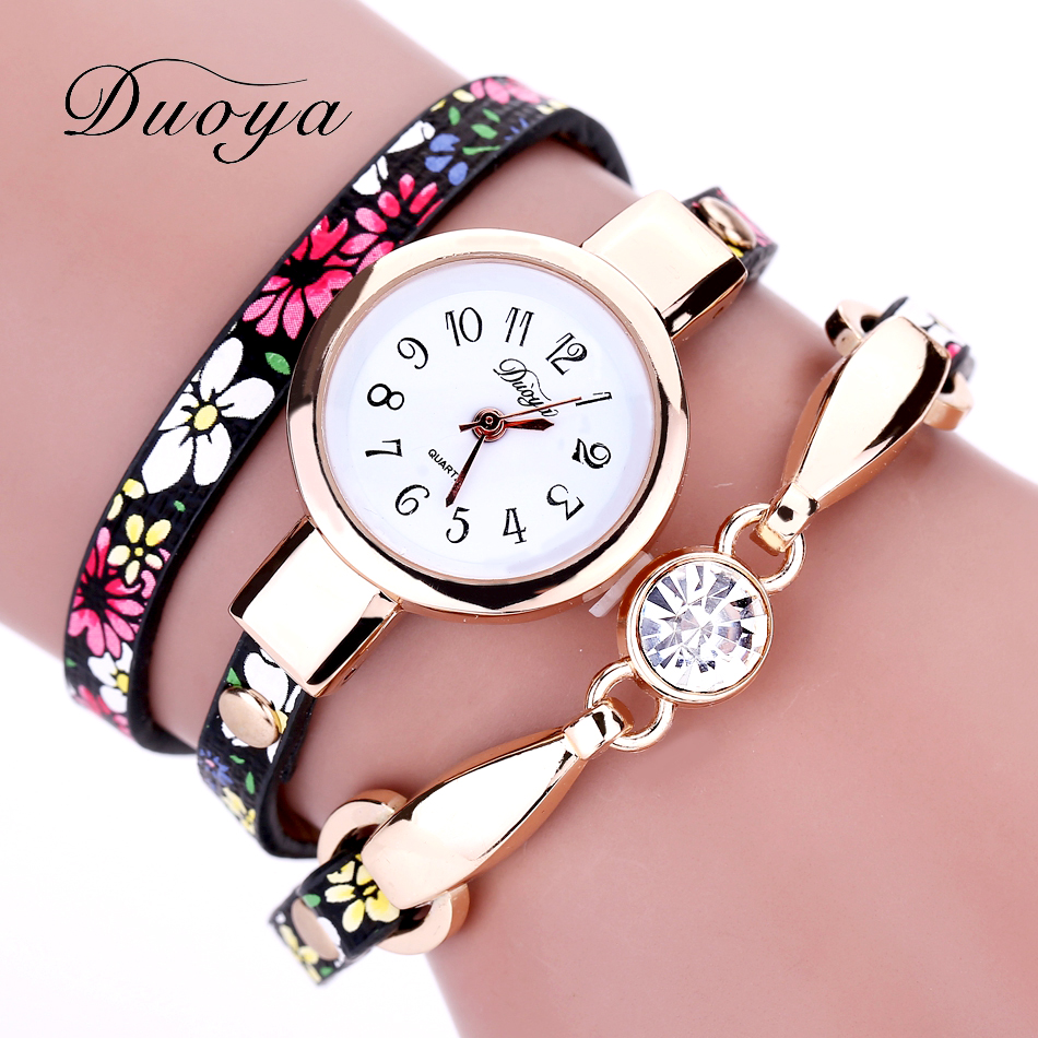Duoya Watch Women Brand Luxury Gold Flower Ladies Bracelet Watch Vintage Electronic Quartz Wristwatch Clock Christmas Gift 2017