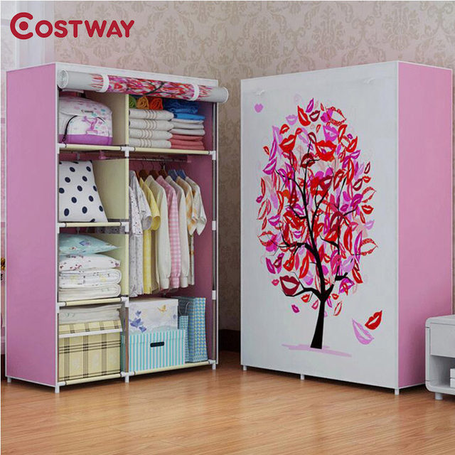 COSTWAY Bedroom Print Non Woven Wardrobes Cloth Storage Saving Space Locker  Closet Sundries Dustproof Storage Cabinet W01021