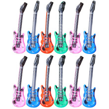 12Pcs Colorful Inflatable Music Guitar Musical Balloon Toys for Swimming Pool Beach Party Wedding Home Decorative Accessories