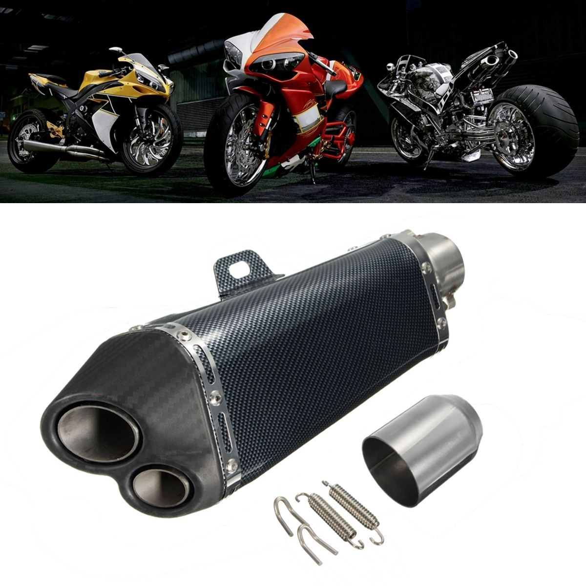 38-51mm Motorcycle Stainelss Steel Exhaust Muffler Pipe Dirt Bike Street Bike Scooter ATV for Honda for Kawasaki