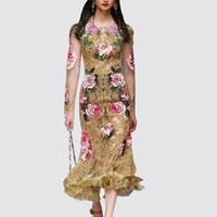 Elegant Floral Embroidery Runway Dress Women's Vintage See Through Mesh Bodycon Special Occasion Dresses sheer vestido de festa