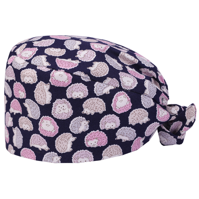 Hedgehog Printing Scrub Caps for Women and Men Surgical Medical Cap for Nurse and Doctor 100% Cotton Skull Tieback Hats Pet Hat