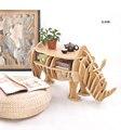 100% rinoceronte de madeira mesa animais Europeia DIY Artes Ofícios Início Decorativa artesanato em madeira presente desk móveis enigma de auto-construção decoração