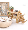 100% wood rhino animal table European DIY Arts Crafts Home Decorative wood craft gift desk self-build puzzle furniture decor