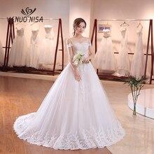 Elegant Simple Lace Wedding Dress VLNUO NISA Luxury Boat Neck Court Train Vestido De Novia Ball Gown Real Photo Bride Dress 20