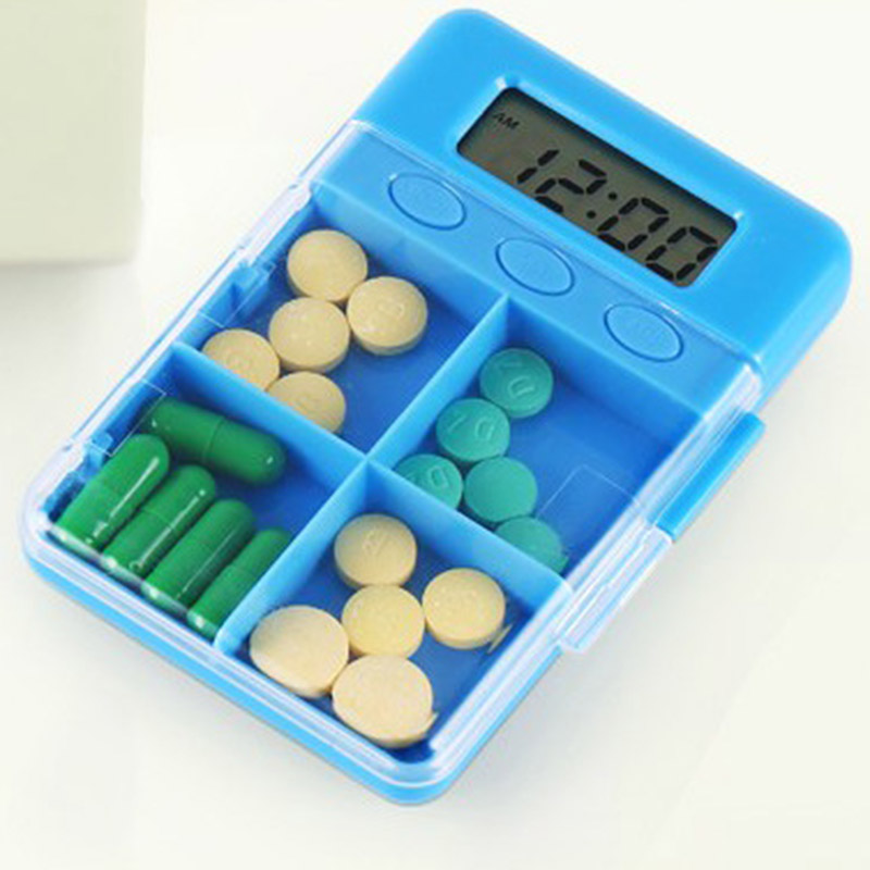 4 Grid Intelligent Time Reminder Pill Box Portable Organizer Storage Case HG99