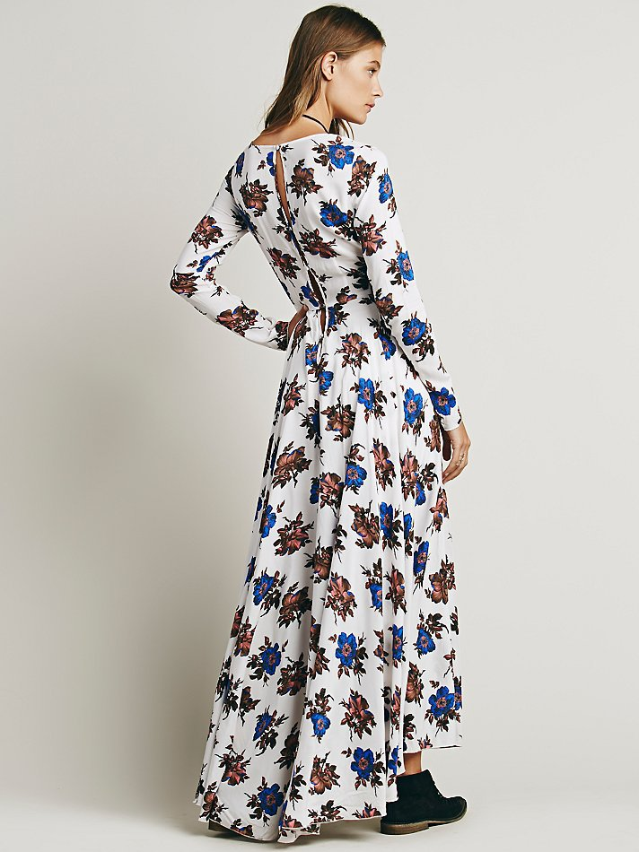 d134f4feda9 Curiosity Fashion First Kiss Long Sleeve Floral Printed Maxi Dress Plus Size  V Nect Boho Women Dresses-in Dresses from Women s Clothing on  Aliexpress.com ...