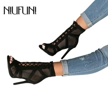 Summer Peep Toe Ankle Sandals Boots Thin High Heels Womens Mesh Hollow Women Pumps Cross-tied Lady Gladiators Shoes Sexy Sandal