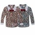 Весна и осень 2017 мальчиков рубашки с длинным рукавом цветочный печати мальчики повседневная рубашка с галстуком-бабочкой 1-d