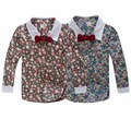 Spring and autumn 2017 baby boys shirts long-sleeve floral print boys casual shirt with bow tie 1-d