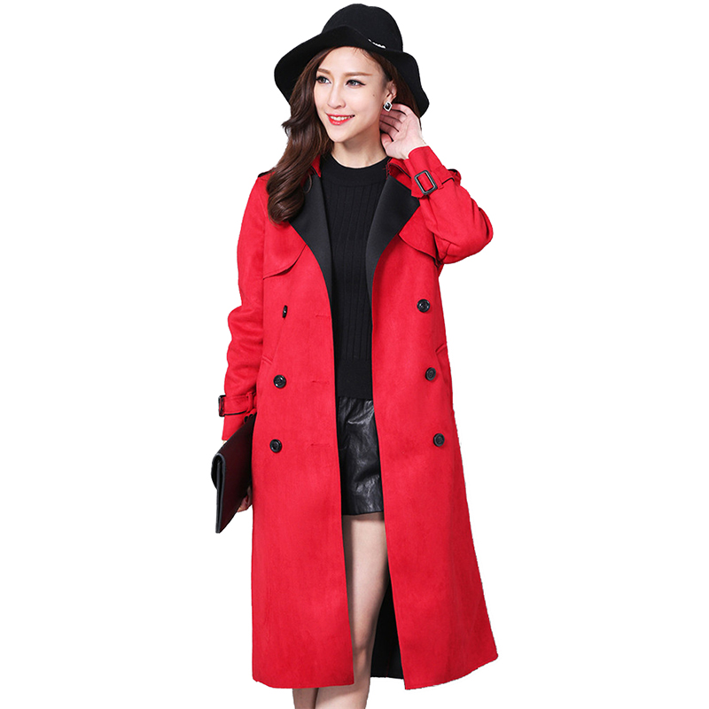 Spring Autumn Fashion Buckskin Suede   Trench   Coat Women Long Coat Plus size S-6XL Windbreaker Female Double-breasted   Trench   A2841