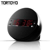 TORTOYO 5 Wát Xách Tay Desktop Bluetooth 4.2 Loa Không Dây 3D 2.1 Loa Siêu Trầm Đồng Hồ Báo Thức Rảnh Tay Thời Gian Màn Hình FM Radio U đĩa