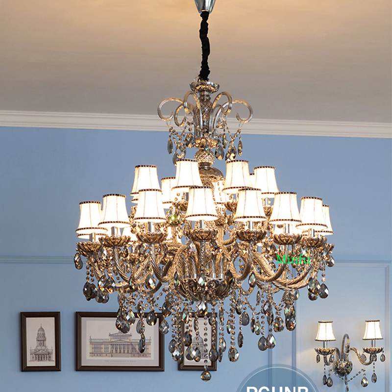 Large Crystal Chandelier for Living room High Ceiling Crystal Lamp Villa Staircase Light Restaurant Smoke Grey Candle Lamps private villa living room chair retail