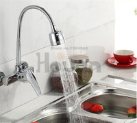 Free Shipping Brass Material Wall Mounted Kitchen Sink Mixer Faucet With Free Rotation Hose Mixer Water