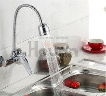Бесплатная доставка латунь материал настенные кухонной мойки кран с свободного вращения шланг смеситель воды