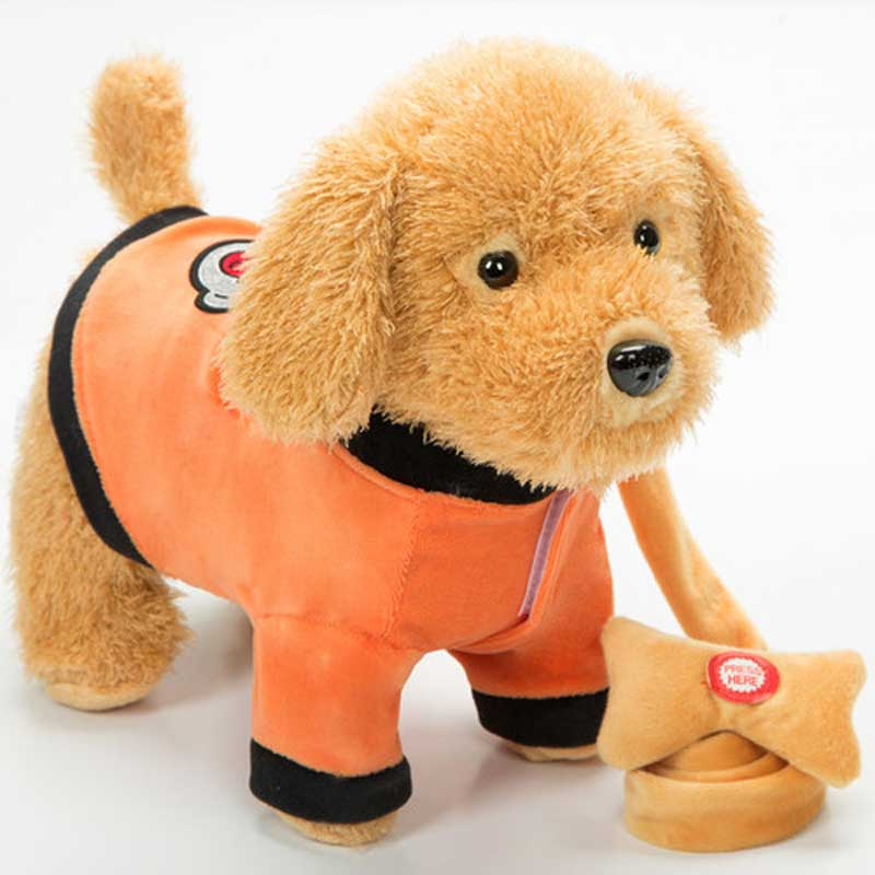 Control de sonido del perro Robot mascotas electrónicas interactivas perro de peluche que camina 72 canciones Correa juguetes de peluche para niños regalos de cumpleaños