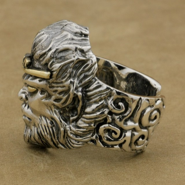 925 Sterling Silver Chinese Monkey King WuKong Ring Mens Biker Punk Style 9M018A