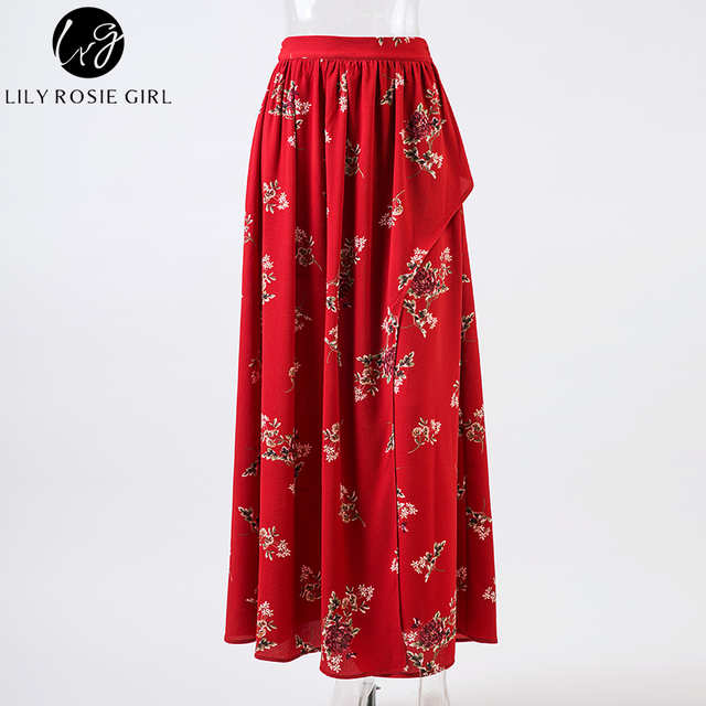 Women Casual Elegant Sexy Boho Style Print Floral Straight Maxi Summer Beach Skirt