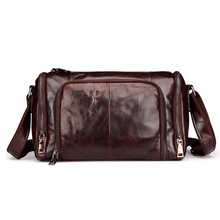 The new men's leather shoulder bag Messenger bag retro oil wax leather man bag business casual cylindrical package wholesale