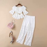 Women white lace long pants suit two piece set off the shoulder ruffles tube tops see through wide leg pants 2019 spring summer