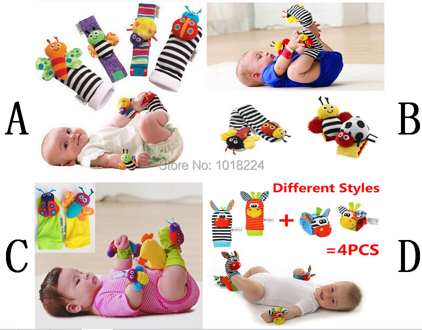 4pcs Set Baby Rattle Toys 2015 New Brand Garden Bug Wrist Rattles