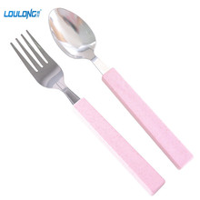 2 Pcs Portable Eco-Friendly Wheat Straw Fork Travel Set For Kids Dinnerware Teaspoon Salad Fork Kitchen Utensil TW014