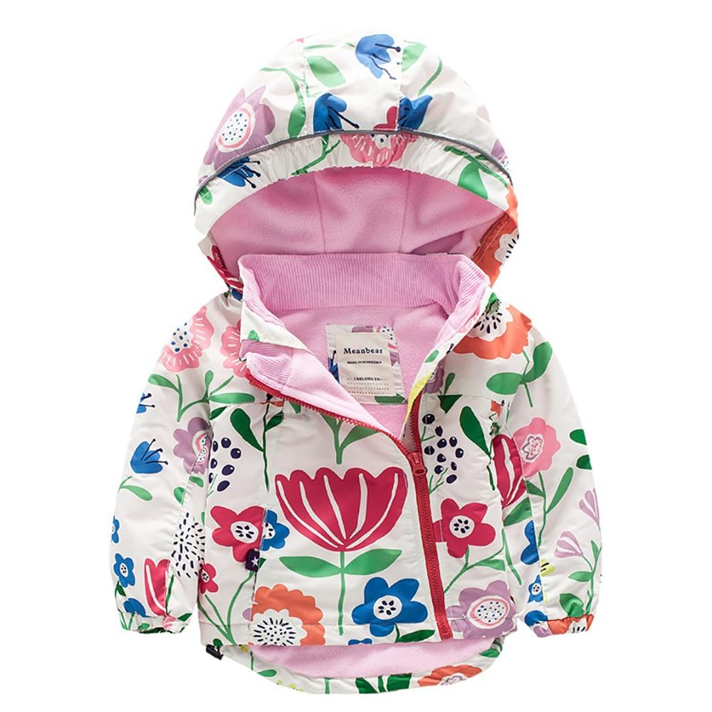цена M51 Autumn Fashion Flower Print Outwear Child Thick Polar Fleece Lining Jacket Boy Hoodies Girl Keep Warm Cotton Coat Tops в интернет-магазинах