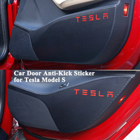4pcs/set Car Door Kick Sticker Anti Dirty Protector Anti Kick Mat Pad Cushion Cover Styling Logo Accessories for Tesla Model S