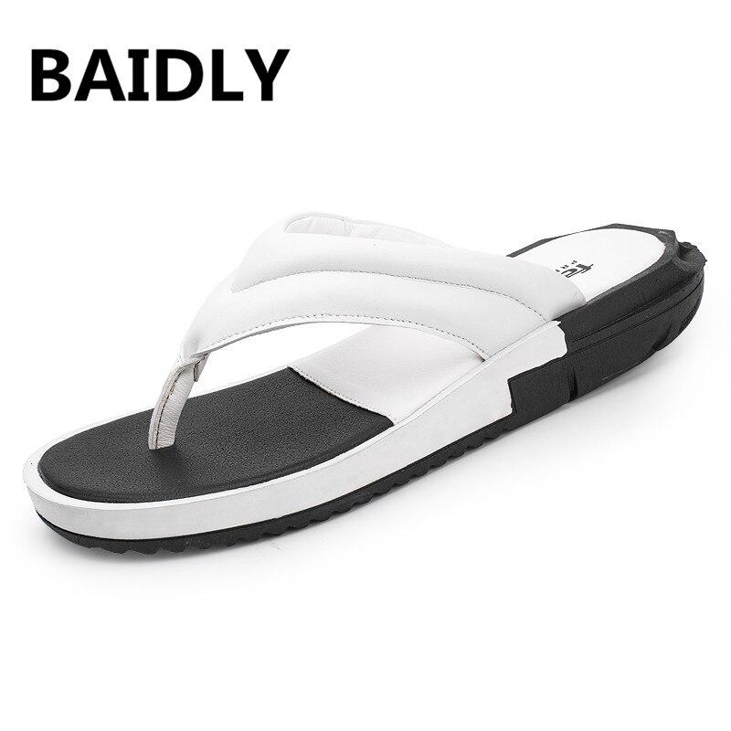 100% Wahr Sommer Flip-flops Männer Outdoor Flache Strand Schuhe Split Leder Sandalen Flip Flop Herren Atmungsaktive Wanderschuhe Hausschuhe Waten Schuhe Ohne RüCkgabe