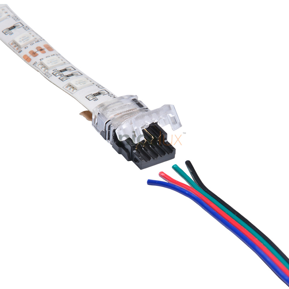 RGB LED Connector 4 Pin for 10mm Waterproof LED Strip Light 5050 RGB Connector Strip to